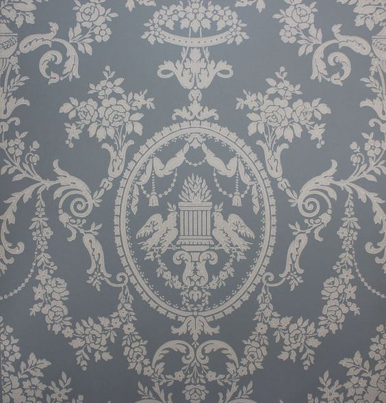 1920 39 s antique vintage wallpaper victorian blue lovebirds for Victorian wallpaper