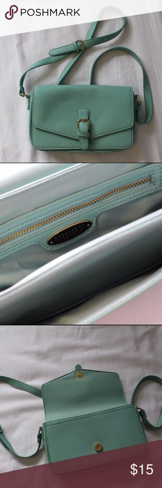 Mint Turquoise Purse Simple, closes with a flap and button. 2 compartments. One extra zipper pocket in the main compartment. Adjustable strap length. Accepting offers! Forever 21 Bags Mini Bags