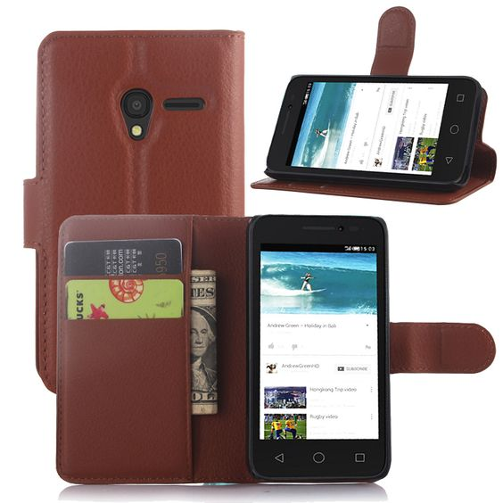 Free Shipping for Alcatel case high quality PU Leather wallet flip Case for Alcatel One Touch Pixi 3 4 inchs Case Phone Cover