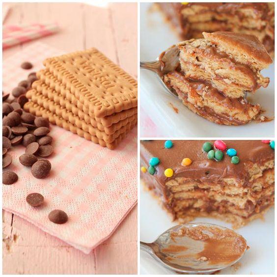 Tarta de galletas con crema de chocolate