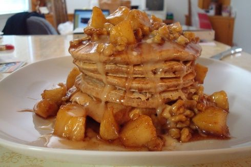 Cinnamon Roll Griddle Cakes with Apple Walnut Topping | Favorite ...