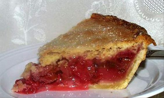 Strawberry Rhubarb Pie from Food.com:   								There are a lot of similar recipes on here, but I didn't find this one. It turns out perfect and it's so easy. I like it because it doesn't call for tapioca or cornstarch and the strawberries are whole.
