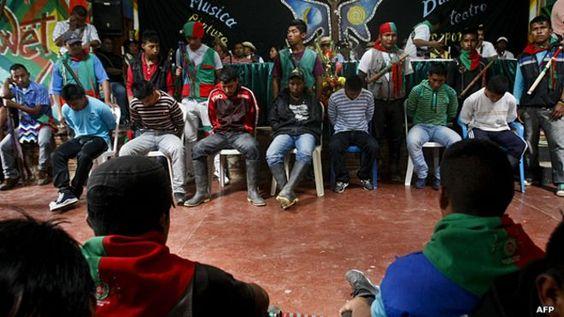 Juicio indígena a milicianos de las FARC en Toribío, Cauca.