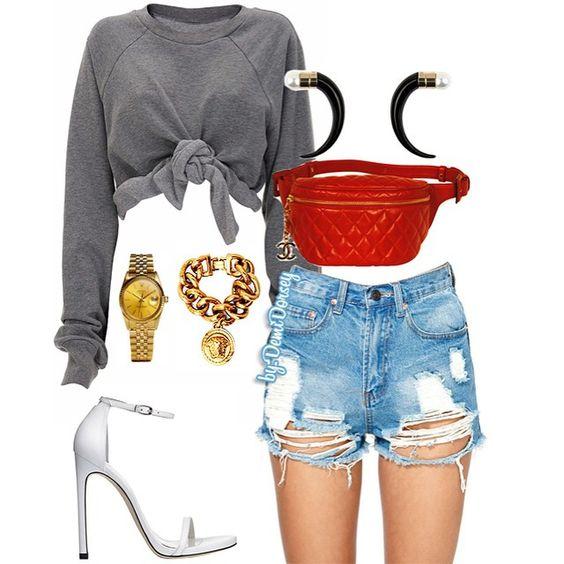 Sweat It Off  ————————————————– Top:#Ashish Shorts:#NastyGal Shoes:#StuartWeitzman Fanny Pack:#Chanel Earrings:#Givenchy  Watch:#Rolex  Bracelet:#Versace ————————————————– #ootd #ootn #fashion #style #stylist #fashionstylist #StyledByDemi #StyledByDemiDorsey