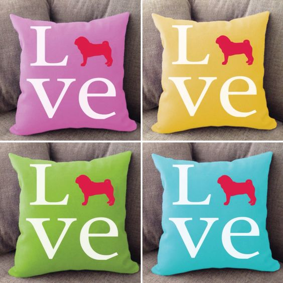 Pug LOVE pillows - offered in 50+ dog breeds. Shop --> RighteousHound.com
