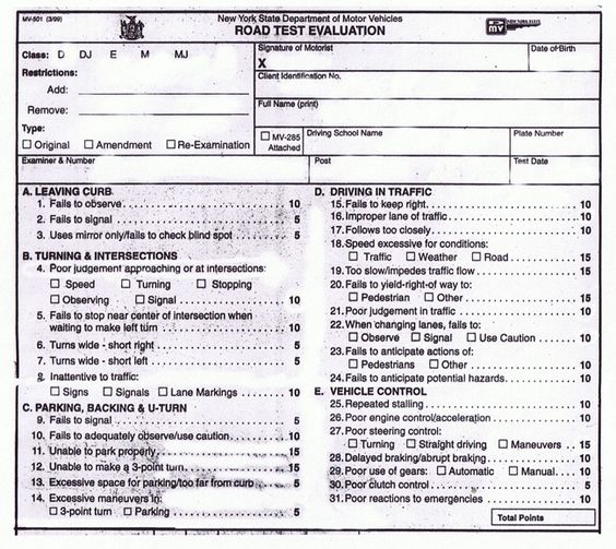 New York State Road Test Evaluation Form road test Pinterest - dmv release form