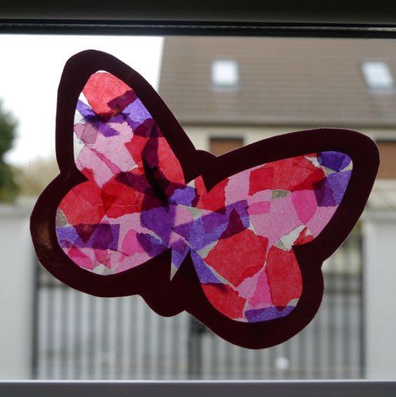 Papillon d coupage collage insectes pinterest collage et papillons - Papillon en papier de soie ...