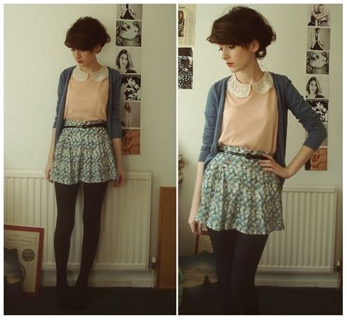 Vintage high-wasted skirt and pink collared shirt