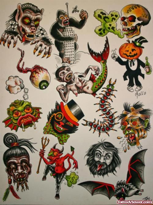 Attractive Colored Halloween Tattoos Designs Attractivetattoos Halloween Tattoos Halloween Tattoo Flash Traditional Tattoo