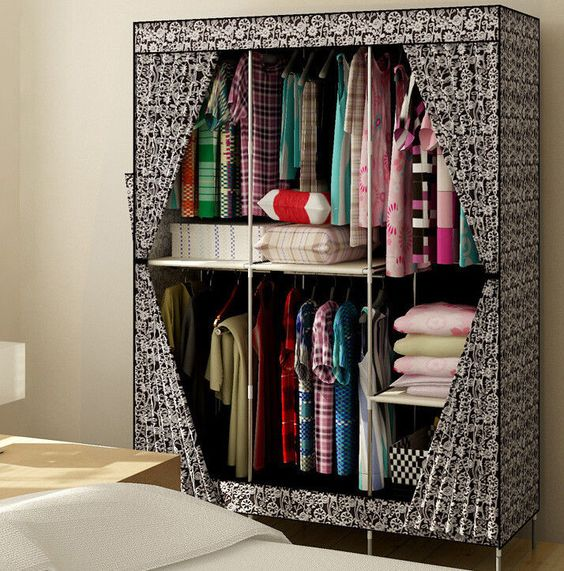 New Reinforced Large Portable Closet Folding Clothes Wardrobe Bedroom Furniture
