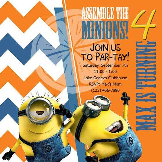 despicable me birthday party | Custom Printable Despicable Me Minion Birthday Party Invitation on ...