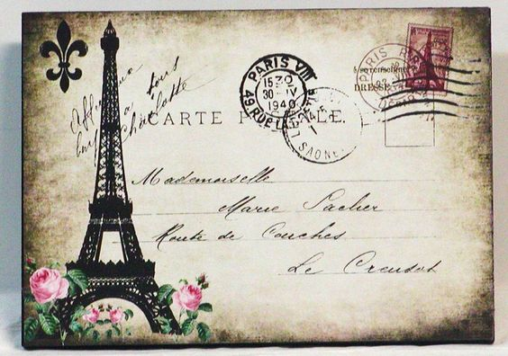 Vintage Postcard Paris Eiffel Tower Wooden Wall Plaque. $9.95, via Etsy.: