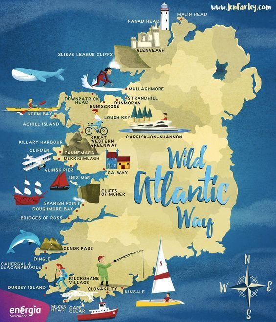 Wild Atlantic Way Route Ireland Road Trip Ireland Map Road Trip