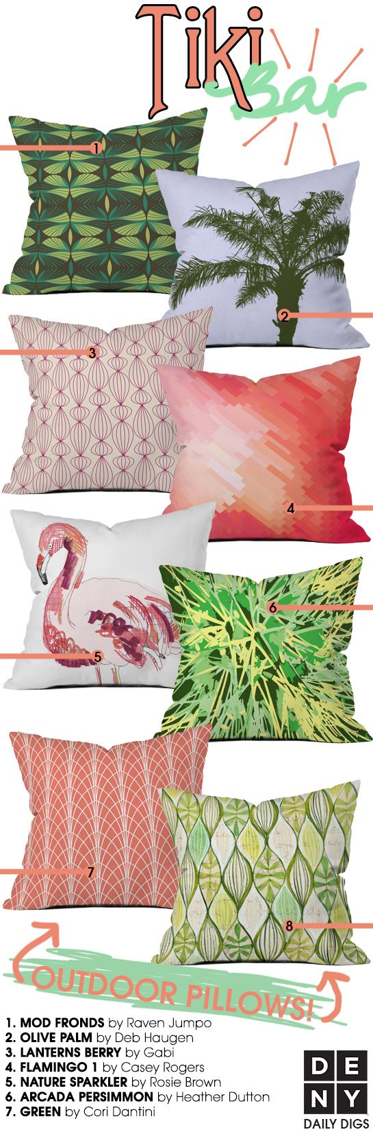 Tiki Bar Patio Collection featuring our new outdoor throw pillows!