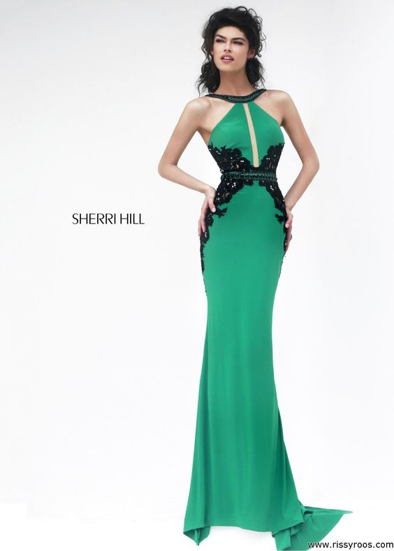 Sherri Hill 32013 - Emerald Beaded Jersey Dress - RissyRoos.com