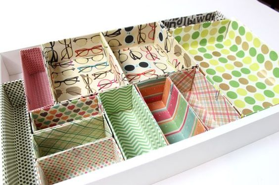 Desk drawer organizers made from cereal and cookie boxes are a great way to get your work space in order.