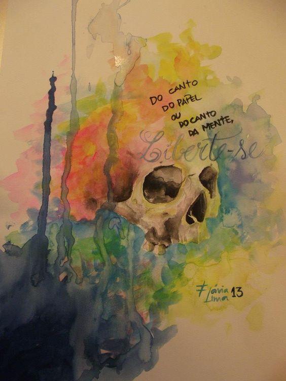 #skull #watercollor #aquarela #caveira #flavialima
