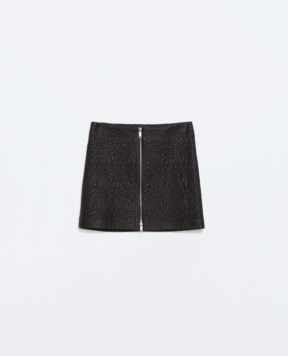 ZARA - WOMAN - EMBROIDERED FAUX LEATHER SKIRT