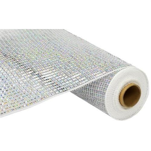 Metallic Floral Mesh Wrap 10 Inch 10 Yard Silver Deco Mesh Ribbon Deco Mesh Deco Mesh Crafts