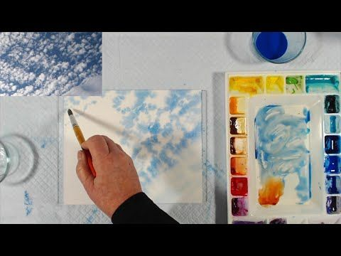 Painting Light Clouds On A Darker Sky Using Negative Painting Wet