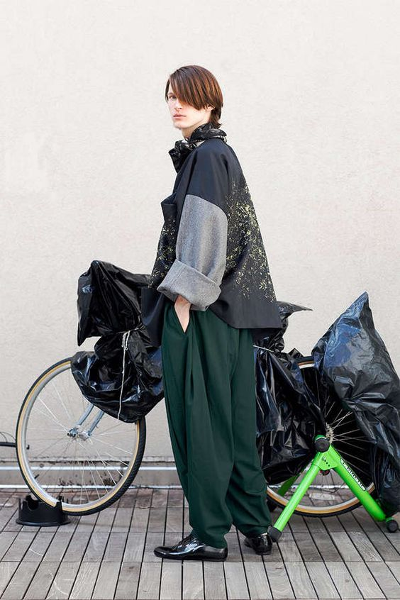Oversized Biker Attire // perfect. color, coverage. Needs more sheen. The bike works as well, punked up a bit Helmet combied with the gauzy thing.