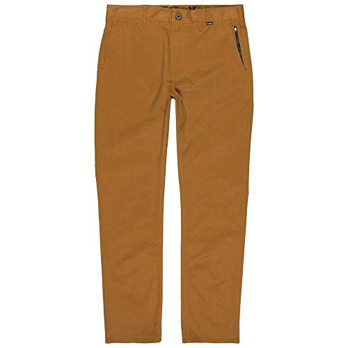 New Hurley Mens Dri-Fit Worker Pant Cotton Polyester Spandex Brown