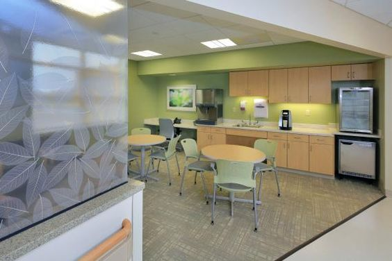 The lounge was designed to provide ample sunlight inside it and beyond, into the addition. Lawrence + Memorial Hospital.