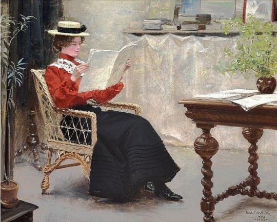 Interior with a Young Girl Reading (1902). Paul Gustave Fischer (Danish, 1860-1934).