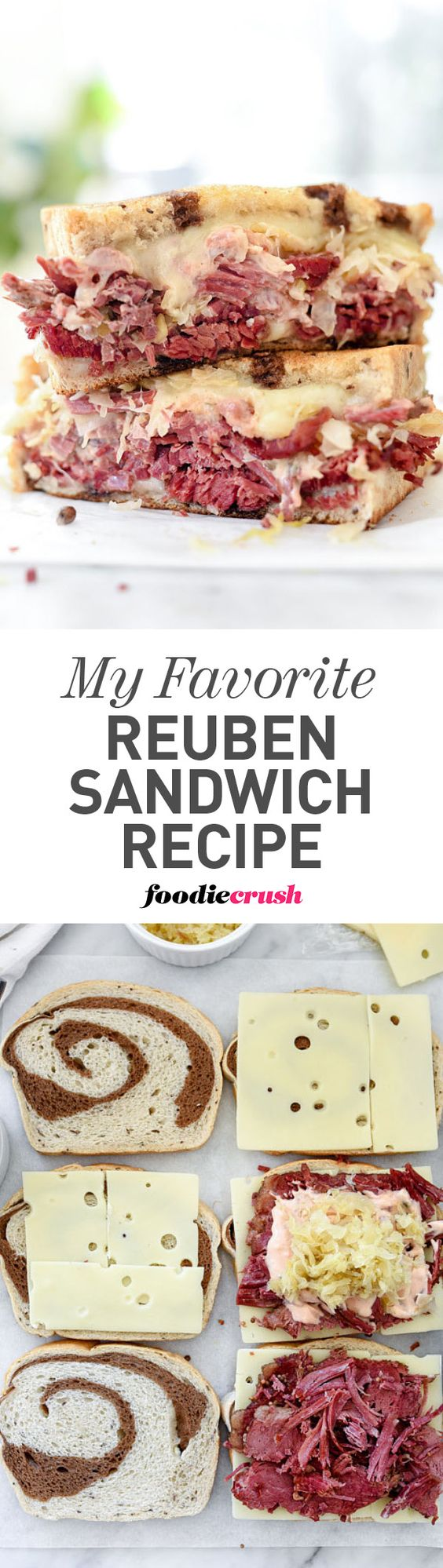 Slow-cooker corned beef is the star of this sandwich loaded with sauerkraut, cheese and homemade Russian dressing #sandwich #cornedbeef #stpatricksday   foodiecrush.com