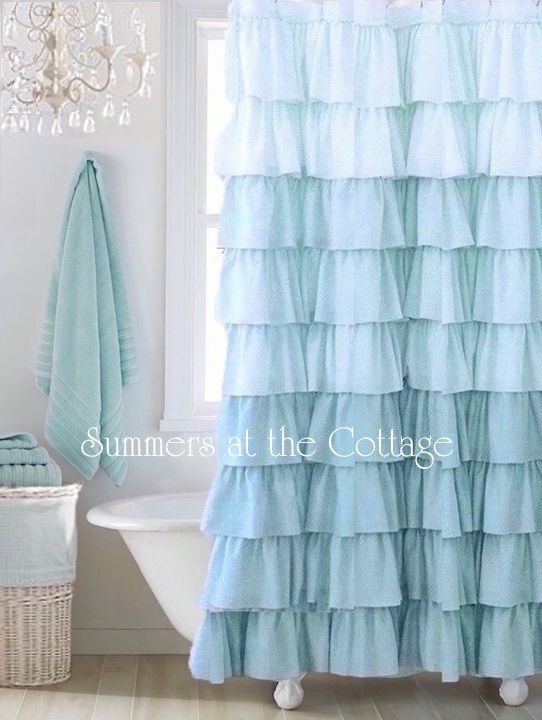 Shabby Bella Blue Cottage Chic Ruffle Shower Curtain Shabby Chic Shabby Chic Beach Shabby Chic Decor