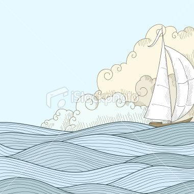 Retro hand draw styled sea with clouds and sailor boat Royalty Free Stock Vector Art Illustration