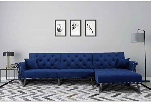 Amazing Offer On Farsler Convertible Sectional Sofa Bed L Shaped Couch Modern Linen Fabric Small Space Blue Online Yournewseasonstyle In 2020 Mid Century Sectional Sofa Sectional Sofa Couch Sofa Bed Living Room
