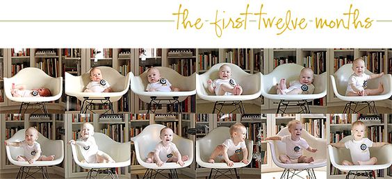Baby's First Year in Photos, taken in the same spot so you can see their growth-- Check it, @Kurt Rahn
