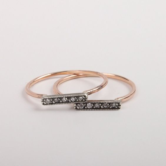 Dainty Stacking Pavé Ring in Rose Gold.
