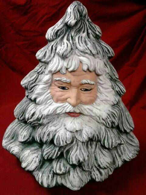 Ready To Paint Or Hand Painted Ceramic Bisque Santa Face Tree Santa Face Ceramic Christmas Trees Santa Carving