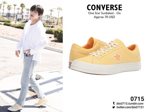 190614 | Taehyung : Naver x Dispatch x BTS photoshoot  CONVERSE - One star sunbaked - ox // (On sale:$52)