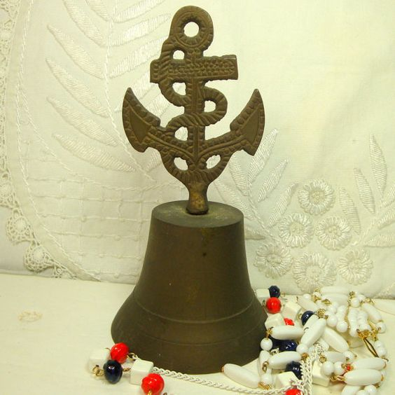 Brass Nautical Anchor Bell Aged Brass Table by VintageStarrBeads, $13.99