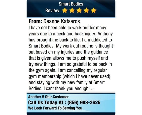 I have not been able to work out for many years due to a neck and back injury. Anthony has...