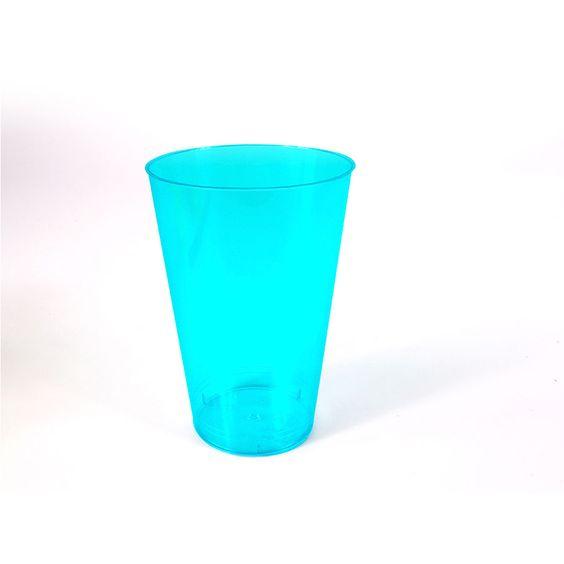Copo Acrílico 300Ml Azul Neon Com 10 Unid Aluá Festas