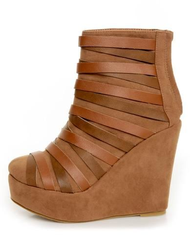 Yoki Campbell Rust Tan Strappy Wedge Ankle Booties