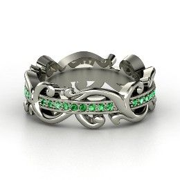 For the May babies of the world, like me! Atlantis Eternity Band, Palladium Ring with Emerald from Gemvara. Jewelry!
