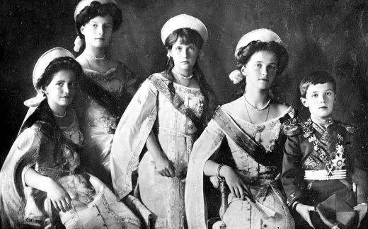 The Grand Duchesses Olga, Tatiana, Anastasia and Maria and Alexei, the heir to the Russian Imperial throne.: