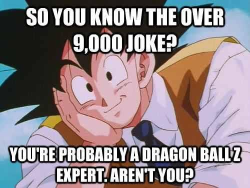 OMG yes I know people that think just because they know the over 9000 joke and don't know what it means, they think they know everything about dragonball