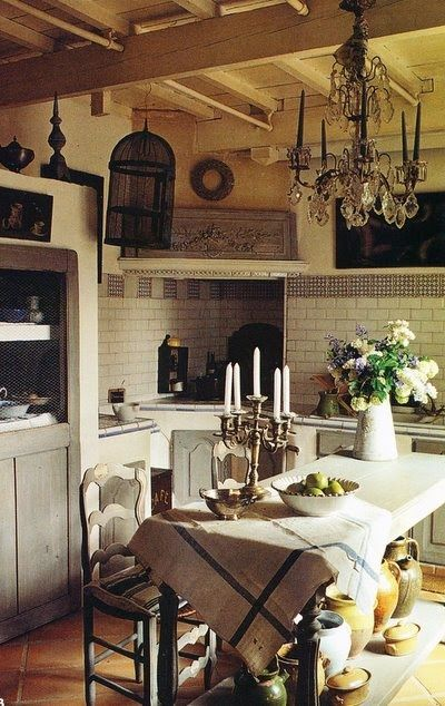 French kitchens exposed beams and industrial chic on for French chateau kitchen designs