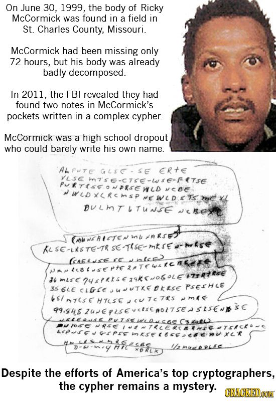 23 Creepy Unsolved Mysteries Nobody Can Explain | Cracked.com The one above is very strange & cryptographers can not decode the written note that was found on him