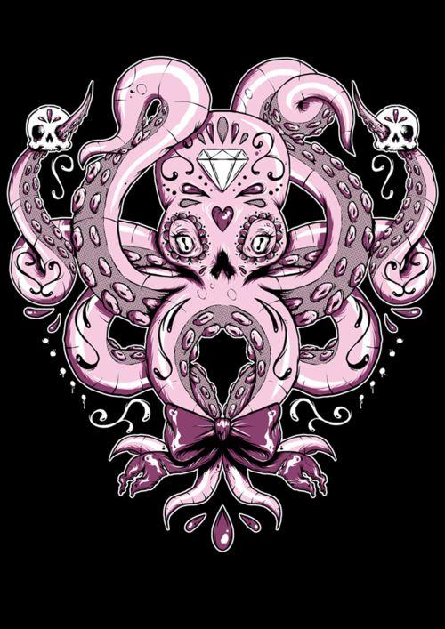 Zu den beliebtesten Tags für dieses Bild zählen: artwork, crystal, illustration, octopus und pink