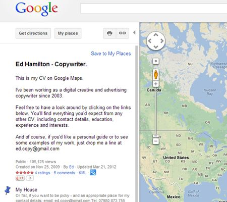 Creative Resume The Google Maps Resume Personal branding in the - resume personal interests