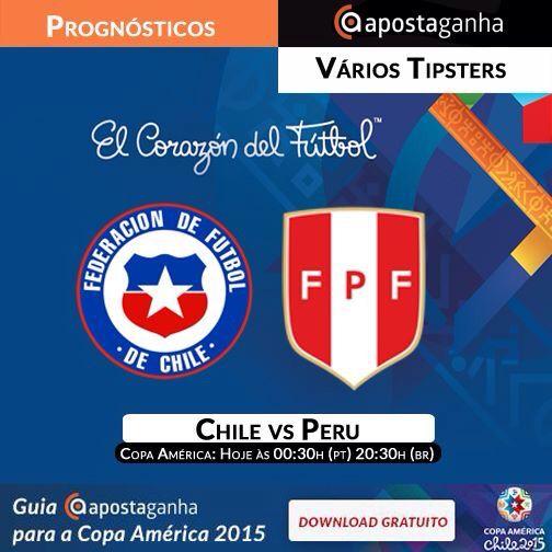 Quem será o primeiro finalista da Copa América 2015? Chile ou Peru? Confiram nossos prognósticos:  http://bit.ly/chilevsperu-copaamerica-luisfernandodante http://bit.ly/chilevsperu-copaamerica-BartSimpson http://bit.ly/chilevsperu-copaamerica-mara  #conmebol #peru #chile #copaamerica2015 #apostas #apostasonline