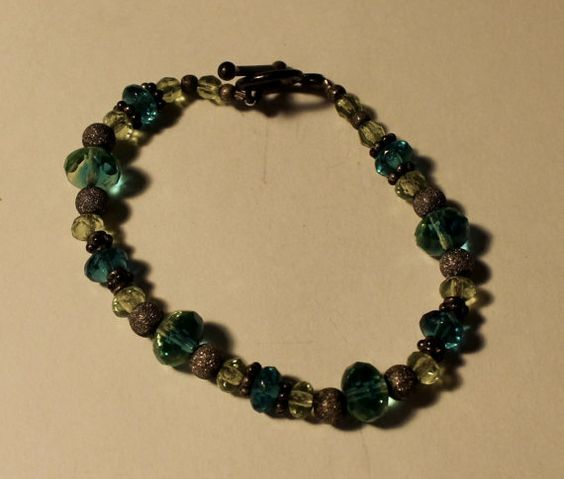 Sterling Silver Green and Blue Beaded Bracelet by onetime on Etsy, $4.25