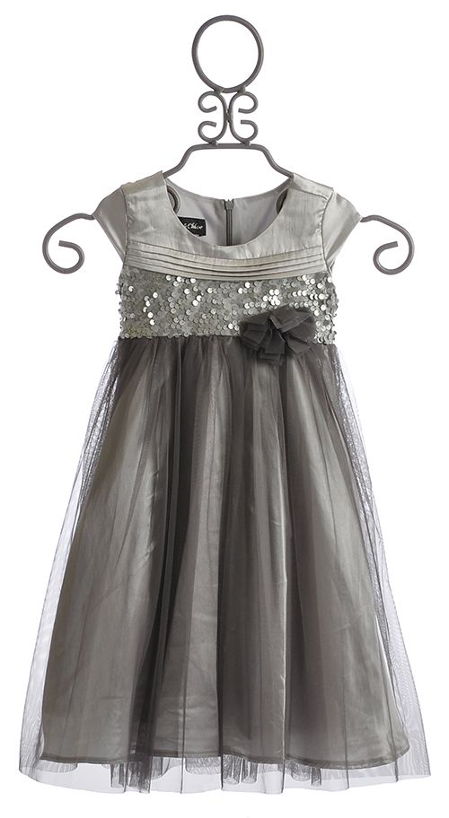 Isobella and Chloe Silver Shimmer Little Girls Special Occasion ...